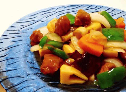 らでぃっしゅぼーや「ミールキット」で作った黒酢酢豚(2人前)