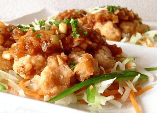 コープデリの料理キットで作った「野菜と食べる油淋鶏」