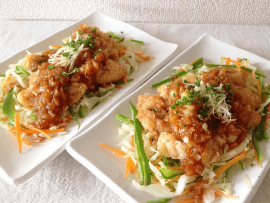 コープデリの料理キット『そろってgood!』で作った『野菜と食べる油淋鶏』