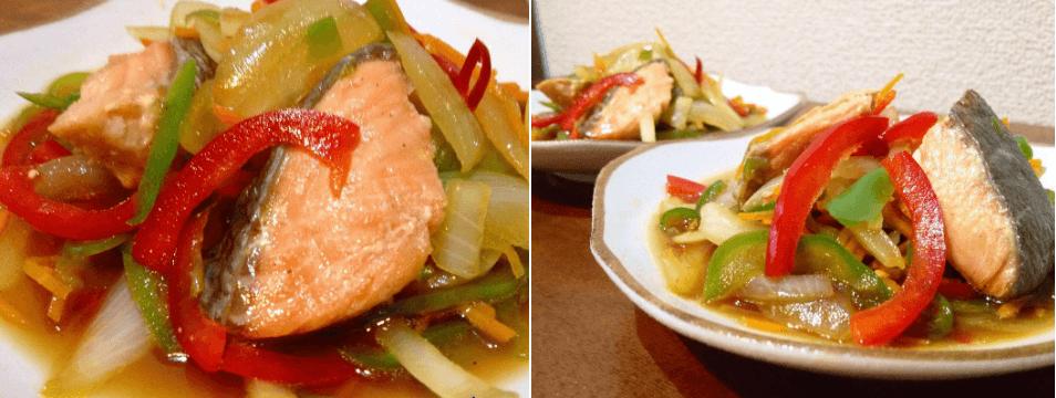 パルシステムの料理セット「だしのきいた秋鮭南蛮風」完成品をアレンジ