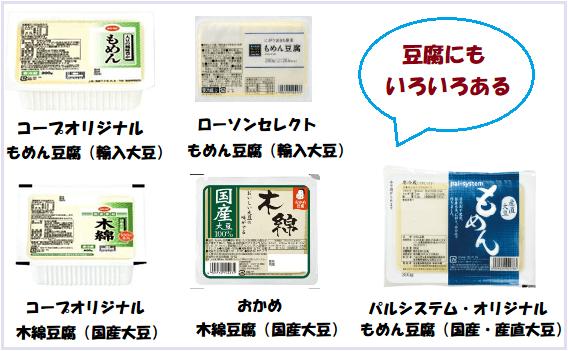 コープ・ローソン・パルシステムの豆腐を比較