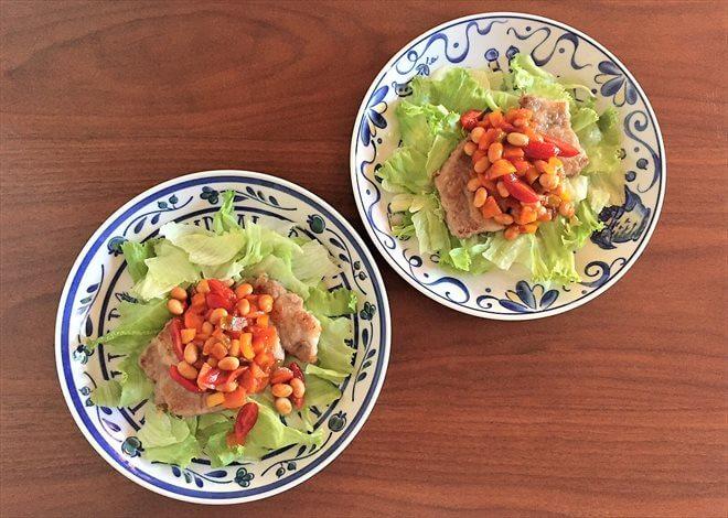パルシステムの産直大豆ドライパックを使った料理(ビーンズトマトソースのポークソテー)