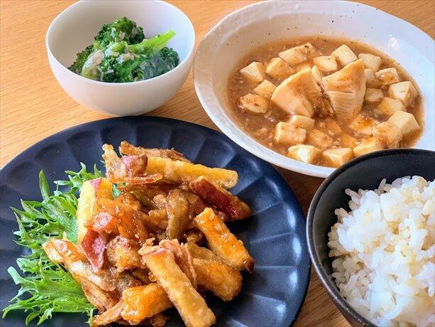 わんまいるの食事セット(タケノコ入り麻婆豆腐)